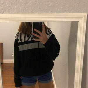 PINK Black Hoodie with Side Pockets